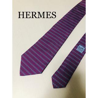 Hermes - HERMES エルメス ネクタイ 高級シルク レッド 赤 フランス製