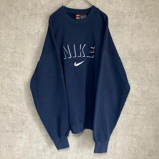 NIKE - 【希少】【美品】NIKE スウェット トレーナー 刺繍 XL ネイビー アメリカ