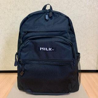 ミルクフェド(MILKFED.)の【新品】MILKFED. Blackロゴ 男女兼用 大容量バックパック リュック(リュック/バックパック)