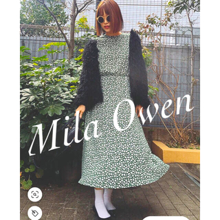 Mila Owen - 【美品】Mila Owen ロングワンピース 緑 花柄