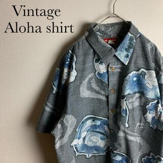 US ビンテージ 古着 和柄 総柄 柄シャツ 半袖 アロハ シャツ 夏 人気