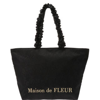 メゾンドフルール(Maison de FLEUR)の Maison de FLEUR レースフリルハンドルトートバッグ Lサイズ(トートバッグ)