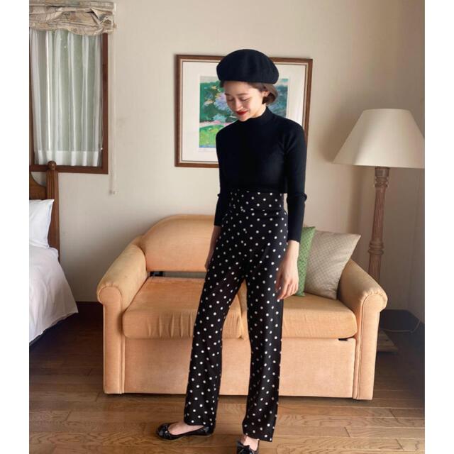 Lochie(ロキエ)の【予約販売】ハイウエストドットパンツ ブラック bibiy.同型 レディースのパンツ(カジュアルパンツ)の商品写真