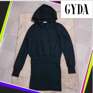 GYDA - GYDA ドッキング スウェットワンピ ブラック