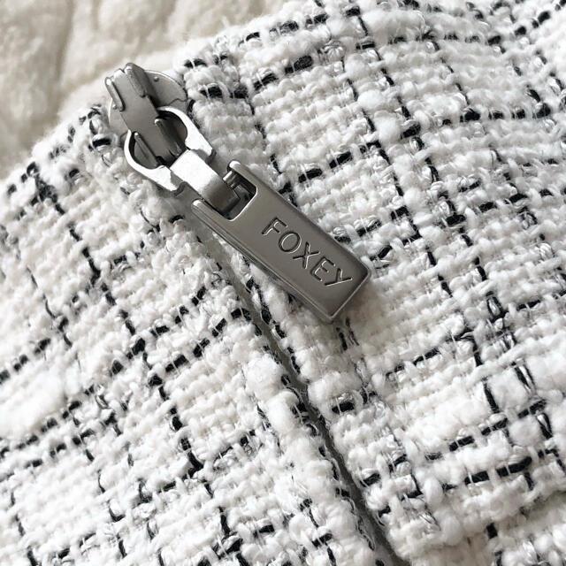 FOXEY(フォクシー)の★美品★FOXEY NY★ツイード フレア スカート★40★白x黒★ レディースのスカート(ひざ丈スカート)の商品写真