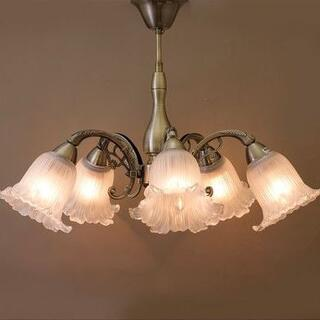 5灯シャンデリア「ロクサーヌ」アンティークブロンズ系LED対応天井照明(232)