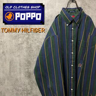 TOMMY HILFIGER - トミーヒルフィガー☆オールド刺繍ロゴクラシックマルチストライプシャツ 90s