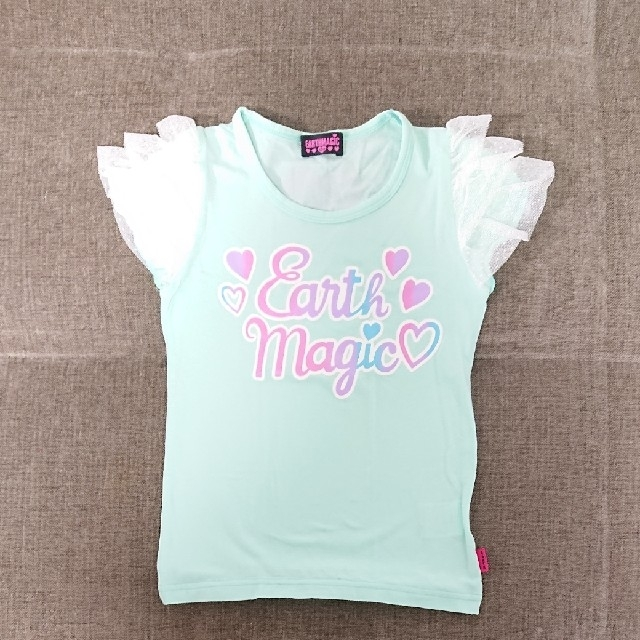 EARTHMAGIC(アースマジック)の130cm アースマジック 袖フリルロゴTシャツ キッズ/ベビー/マタニティのキッズ服女の子用(90cm~)(Tシャツ/カットソー)の商品写真