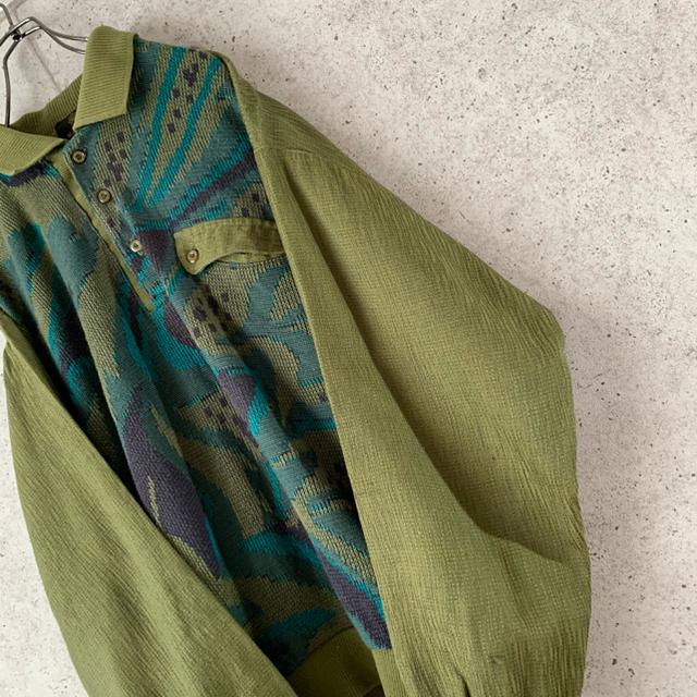 【希少デザイン‼︎】3D 立体刺繍デザイン 古着 ポロシャツ スウェット 大人気 メンズのトップス(ポロシャツ)の商品写真
