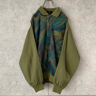【希少デザイン‼︎】3D 立体刺繍デザイン 古着 ポロシャツ スウェット 大人気