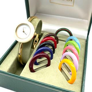 Gucci - 極良品☆ 新品電池 GUCCI Mサイズ チェンジベゼル レディース腕時計