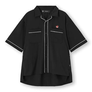 ジーユー(GU)のGU パイピングシャツ(5分袖)UNDERCOVER +E ブラック M(シャツ)