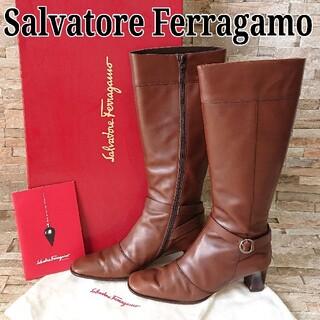 Salvatore Ferragamo - 美品 サルヴァトーレフェラガモ ロングブーツ レザー レディース 23.5cm