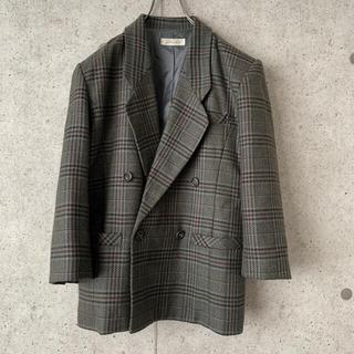 【希少デザイン‼︎】グレンチェック ダブル テーラードジャケット 古着 ウール(テーラードジャケット)