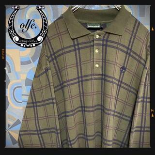 ティンバーランド(Timberland)のオールドティンバーランド 90s 長袖ポロシャツ チェク柄 ベージュ(ポロシャツ)