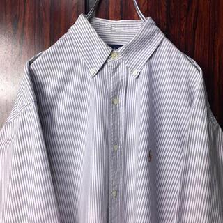 Ralph Lauren - ラルフローレン 刺繍ロゴ BDシャツ ストライプ M 紫 ビッグシルエット