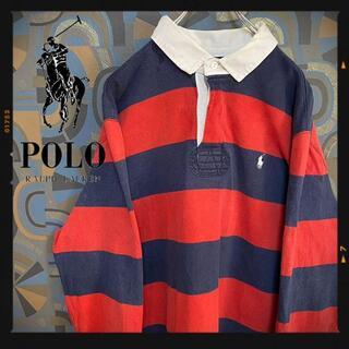 ポロラルフローレン(POLO RALPH LAUREN)のポロラルフローレン ラガーシャツ 90s 長袖ポロシャツ ボーダー 赤紺(ポロシャツ)