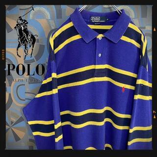 ポロラルフローレン(POLO RALPH LAUREN)のポロラルフローレン ラガーシャツ 90s 長袖ポロシャツ マルチカラー 紫黄(ポロシャツ)