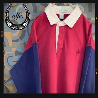 IZOD アイゾッド ラガーシャツ 90s 長袖ポロシャツ マルチカラー 赤紺(ポロシャツ)