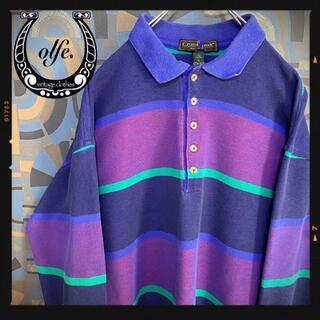 ヴィンテージラガーシャツ 90s 長袖ポロシャツ マルチカラー 紫水色(ポロシャツ)