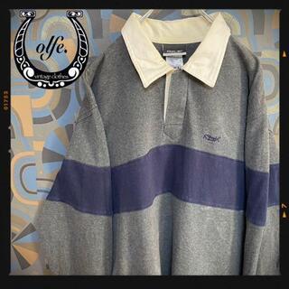 リーボック(Reebok)のリーボック ラガーシャツ 90s 長袖ポロシャツ マルチカラー グレー紺(ポロシャツ)