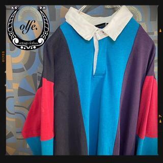 ヴィンテージラガーシャツ 90s 長袖ポロシャツ マルチカラー 青黒赤(ポロシャツ)