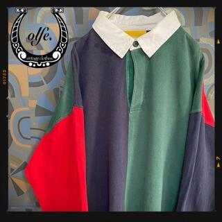 ヴィンテージラガーシャツ 90s 長袖ポロシャツ マルチカラー 赤緑紺(ポロシャツ)