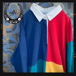 ヴィンテージラガーシャツ 90s 長袖ポロシャツ マルチカラー 青赤黄緑(ポロシャツ)