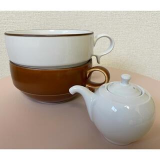 白山陶器 - 白山陶器スープカップ2個&東屋醤油差し