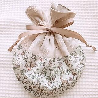 mina perhonen - ふんわりコロン🌷刺繍レースとリバティメドウテイルズのまんまるフリル巾着