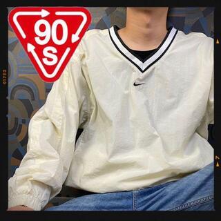 ナイキ(NIKE)の激レア 90s ナイロンプルオーバー ナイロンジャケット センターロゴ 白(ナイロンジャケット)