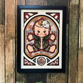 刺青 画 タトゥー 狐面 和彫り 大蛇 デザイン A4サイズ  黒色フレーム(アート/写真)