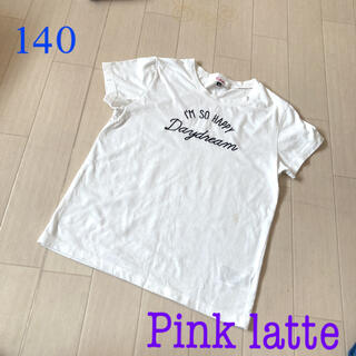 PINK-latte - Pink latte 白Tシャツ♪ 140
