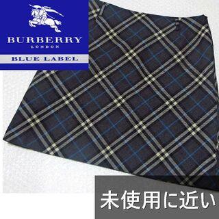 BURBERRY BLUE LABEL - バーバリー ブルーレーベル ノバチェック グレー ブルー フレアスカート