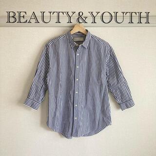 UNITED ARROWS - BEAUTY&YOUTH オーバーサイズ ストライプシャツ 7分丈