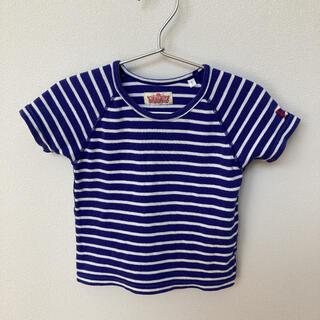 ハリウッドランチマーケット(HOLLYWOOD RANCH MARKET)のハリウッドランチマーケット 半袖 Tシャツ 青 ボーダー ストレッチフライス (Tシャツ)