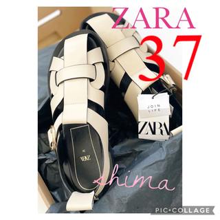 ZARA - ZARA レザーフラットサンダル フラットケージサンダル グルカサンダル