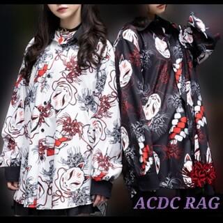 エーシーディーシーラグ(ACDC RAG)のACDC RAG ヒガンバナ シャツ  狐面 長袖 原宿系  パンク ロック(シャツ/ブラウス(長袖/七分))