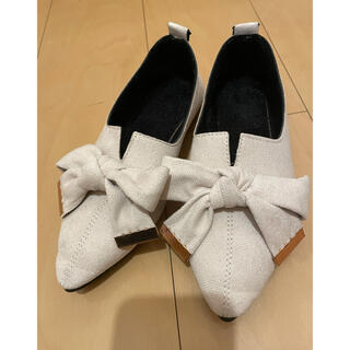 リボン ローヒール パンプス(ローファー/革靴)