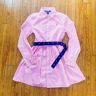 POLO RALPH LAUREN - 【キッズ140㎝】ラルフローレン ストライプ ベルト付き シャツ ワンピース