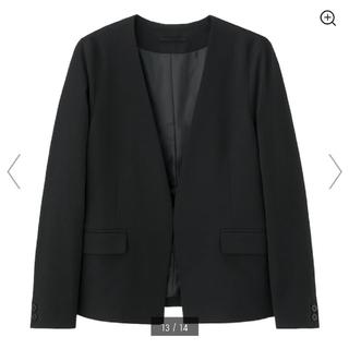ジーユー(GU)の美品 GU ノーカラージャケット M ブラック 黒 フロントホックつき(ノーカラージャケット)