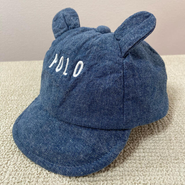 POLO RALPH LAUREN(ポロラルフローレン)のPolo 耳付きベビー デニム キャップ 帽子 44㎝ キッズ/ベビー/マタニティのこども用ファッション小物(帽子)の商品写真