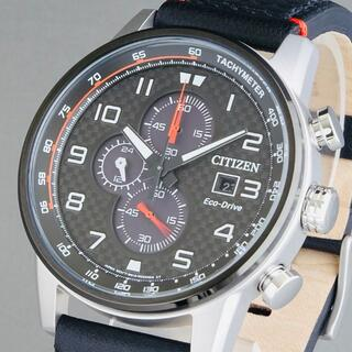 CITIZEN - 【新品即納】シチズン 高級 メンズ腕時計 45mm クロノグラフ ブラックレザー