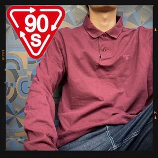 バブアー 90s 長袖ポロシャツ えんじ ワンポイント刺繍 ラガーシャツ(ポロシャツ)