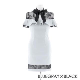 dazzy store - ナイトドレス キャバドレス バイカラーフリルハイネックタイトミニドレス