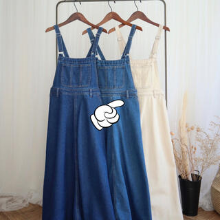 シマムラ(しまむら)のしまむら×てらさんコラボ    ジャンパースカート   ブルー♡(ロングワンピース/マキシワンピース)