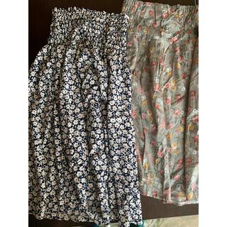 クリスプ(Crisp)の花柄スカート2枚セット(ひざ丈スカート)