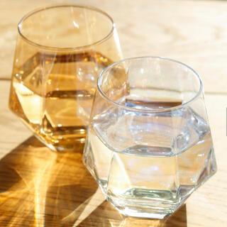 スリーコインズ(3COINS)の新品六角オーロラグラス クリア・ブラウンセット(グラス/カップ)