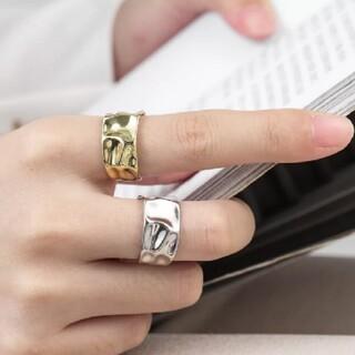 Ameri VINTAGE - ワイドプレート 凹凸 デザインリング 指輪 ゴールドリング