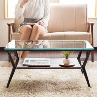 ✨北欧スタイル✨ シンプルおしゃれ ガラステーブル(ローテーブル)